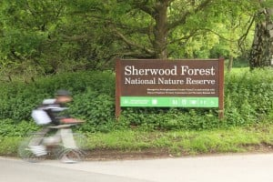Liam cycling past Sherwood Nature Reserve