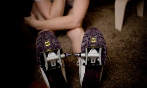 A pair of clipless shoes and pedals.