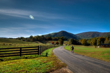 Sunny road bicycle ride