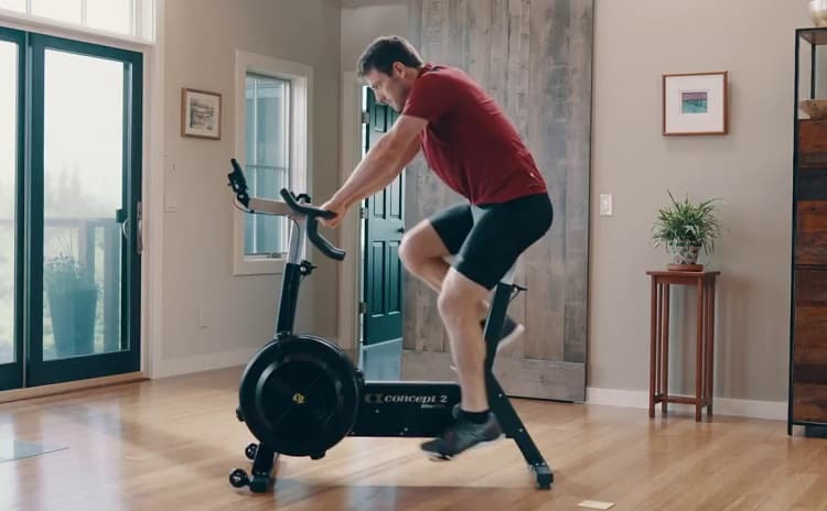 Man Riding Exercise Bike