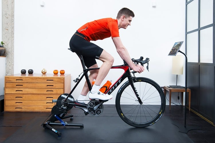 Man Driving Bike On Trainer